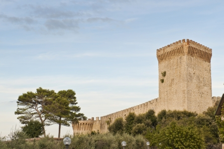Medieval Fortress wall and tower of Castiglione del Lago in Umbria Italy  Stock Photo