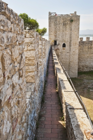 Medieval Fortress wall and tower of Castiglione del Lago in Umbria Italy  Banco de Imagens