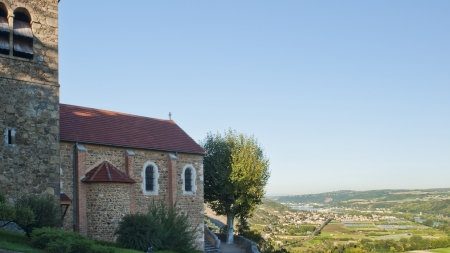 Rhone River Valley from hilltop at Tupin-et-Semons