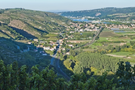 Rhone River Valley from Tupin-et-Semons Imagens - 14026838