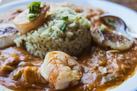 Gumbo with Chicken, Seafood   Sausage Stock Photo