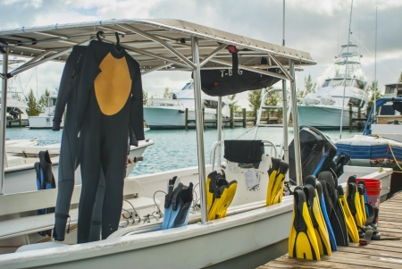dive boat at dock in Cat Island Bahamas Stock Photo - 14762605