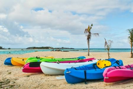 kayaks on beach in Bahamas