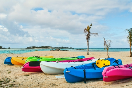 kayaks on beach in Bahamas