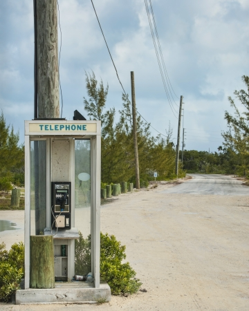 telephone booth at end of road on Cat Island