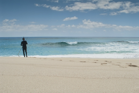diver preparing for beach dive at Cat Island Bahamas  photo