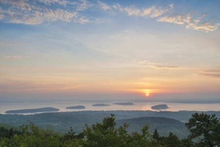 Sunrise over Frenchman Bay from Cadillac Mountain at Bar Harbor Maine