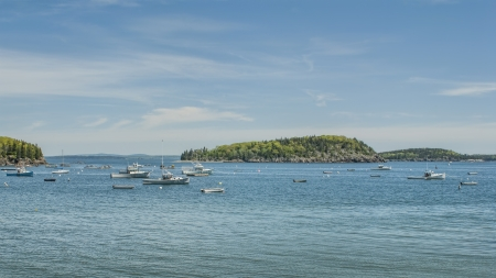 Fishing Boats Anchored in Frenchmans Bay at Bar Harbor Maine Standard-Bild