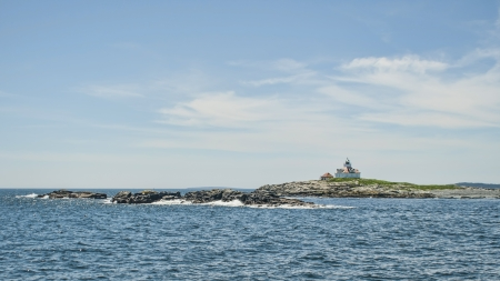 Egg Rock lighthouse from a boat
