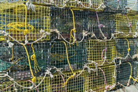 Lobster Traps Stacked on a Dock  Stock Photo