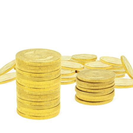 an ounce: composite image of 1 ounce gold coins Stock Photo