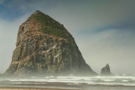famous rock called Haystack at Cannon Beach Oregon
