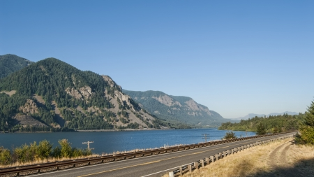 Scenic Washington Route 14 in Columbia River Gorge