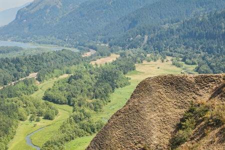adventurer: Hikers on a Mountain overlooking Columbia River Gorge Stock Photo