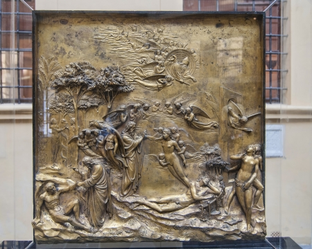 Ghiberti 골드 패널 2 피렌체에서 세례식 문에서 스톡 콘텐츠