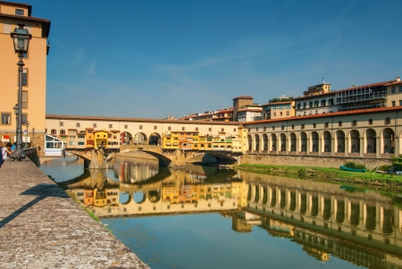 Ponte Vecchio of Florence Spanning the Arno RIver Editorial