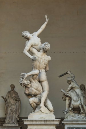 Rape of the Sabine Women in Florence Italy  Editorial