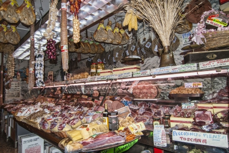 market vendor: Meat Market in Florence Italy Editorial