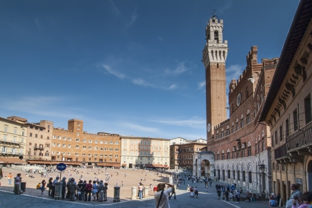 Piazza del Campo von Siena Italien Editorial