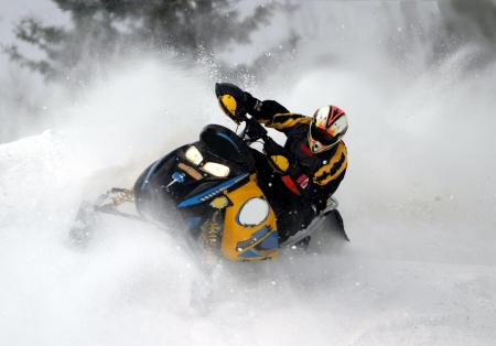 snowmobile at high speed