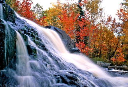 ノースベイ オンタリオ州 duscheney の滝 写真素材