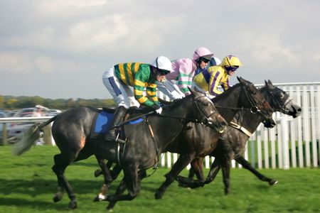 racehorses: rijden naar de finish Stockfoto