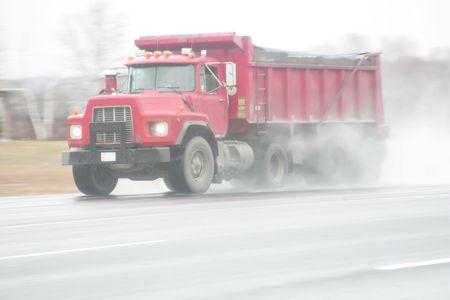 dump truck: red dump truck 2