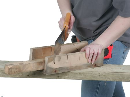 sawing away