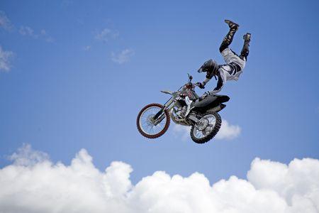 flying moto cross rider 写真素材