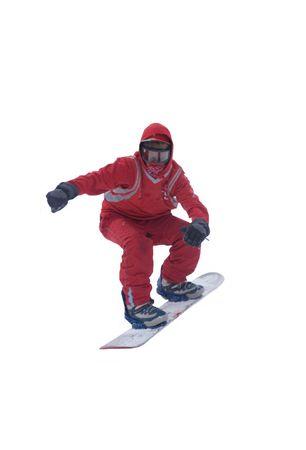airborne snowboarder Stock Photo