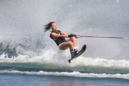 water  skier: what a ride Stock Photo