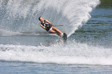water skiing: hokding on