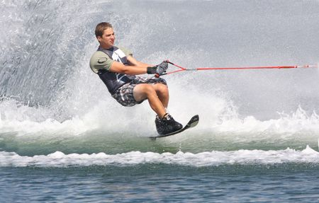 water skiing: wow i am going fast