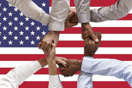 united states flag, intergration of a multicultural group of young people Stock fotó