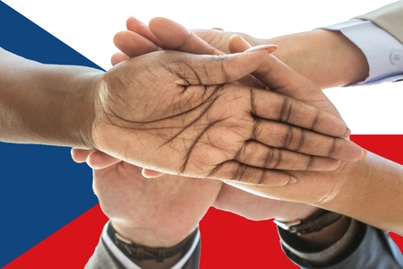 Czech Republic flag, intergration of a multicultural group of young people