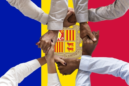 Andora flag, intergration of a multicultural group of young people.