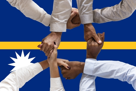 Flag of Nauru , intergration of a multicultural group of young people. 스톡 콘텐츠