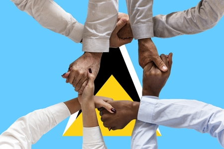 Flag of Saint Lucia, intergration of a multicultural group of young people.