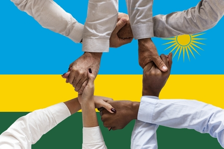 Flag of Rwanda, intergration of a multicultural group of young people. 스톡 콘텐츠