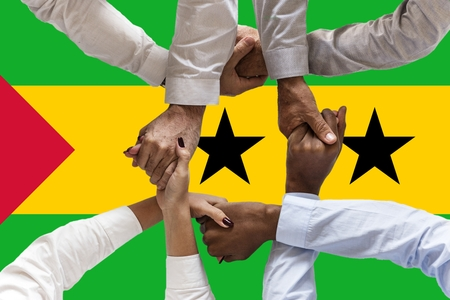 Flag of Sao Tome and Principe, intergration of a multicultural group of young people.