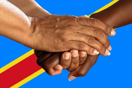 Flag of the Democratic Republic of the Congo, intergration of a multicultural group of young people