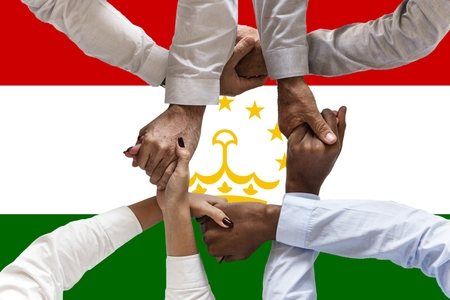 Flag of Tajikistan, intergration of a multicultural group of young people