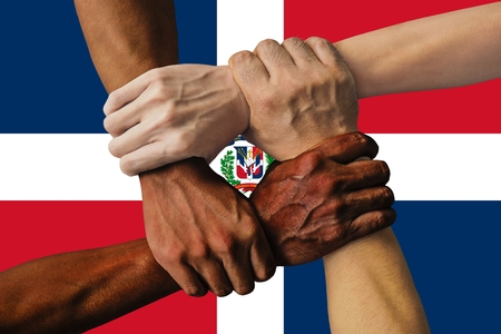 Flag of the Dominican Republic, intergration of a multicultural group of young people 스톡 콘텐츠