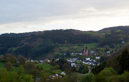 Small village set in the rolling hills of the Eifel, Germany