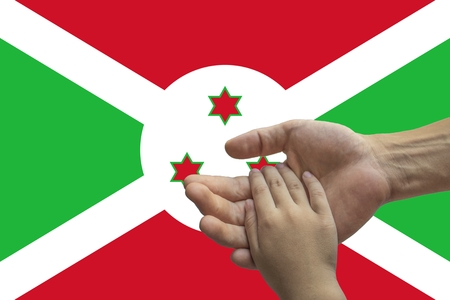 Flag of Burundi, intergration of a multicultural group of young people 스톡 콘텐츠