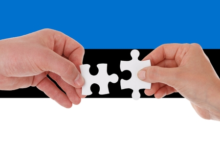Flag of Estonia, intergration of a multicultural group of young people 스톡 콘텐츠