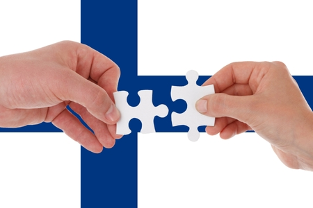 Finland flag, intergration of a multicultural group of young people