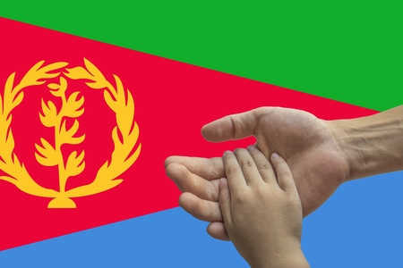 Flag of Eritrea, intergration of a multicultural group of young people.