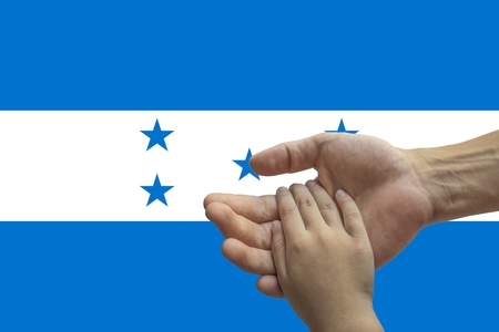 Flag of Honduras, intergration of a multicultural group of young people.