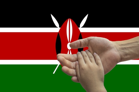 Flag of Kenya, intergration of a multicultural group of young people.